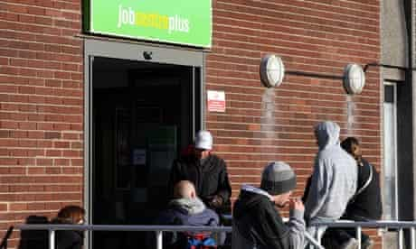 People waiting outside a Job Centre Plus