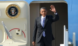 US President Barack Obama waves upon his arrival at St Petersburg's airport ahead of the G20 summit.