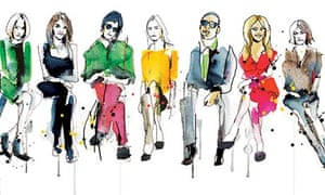 Cecilia Lundgren illustration of front row luminaries from Andy Warhol to Alexa Chung