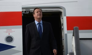 And David Cameron isn't far behind him as he emerges squinting into the sun.