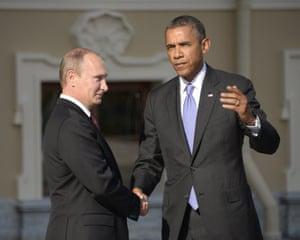 Russian President Vladimir Putin welcomes US President Barack Obama at the start of the G20 summit St Petersburg.