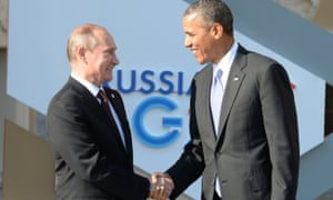 Russias President Vladimir Putin  welcomes US President Barack Obama at the start of the G20 summit on September in St Petersburg.