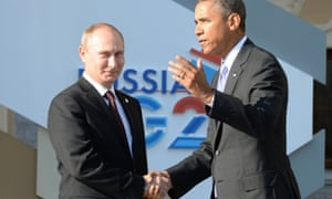 Russias President Vladimir Putin (L) welcomes US President Barack Obama at the start of the G20 summit on September 5, 2013 in Saint Petersburg. Russia hosts the G20 summit hoping to push forward an agenda to stimulate growth but with world leaders distracted by divisions on the prospect of US-led military action in Syria.               AFP PHOTO / YURI KADOBNOVYURI KADOBNOV/AFP/Getty Images