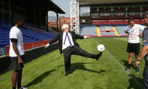 Boris Johnson shows of his skills as he visits Crystal Palace Football Club Foundation at Selhurst Park.
