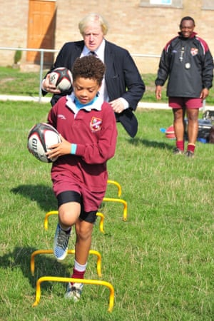 He also had a go at rugby too at the new community sports ground at Streatham-Croydon rugby club, London.