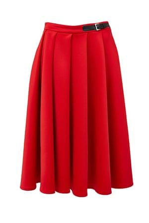 best skirts: red midi kilt skirt