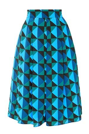 best skirts: blue green geometric patterned skrit