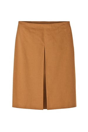 best skirts: tan skirt pleat at front