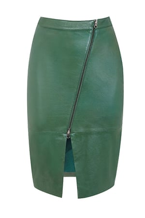 best skirts: green leather skirt with zipped front
