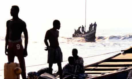 Fishermen at a Ghanaian beach