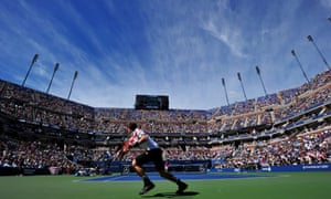 Andy Murray of Britain returns a shot to Stanislas Wawrinka of Switzerland during their quarterfinal match at the USTA Billie Jean King National Tennis Center in New York.