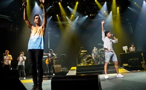 British musicians Jordan Stephens and Harley Alexander-Sule of the band Rizzle Kicks perform on stage