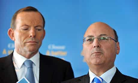 Tony Abbott, left, has concerns that Arthur Sinodinos will be edged out by a micro party candidate.
