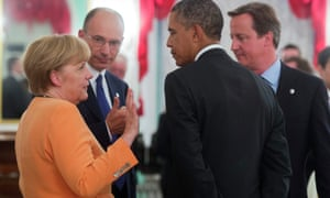 German Chancellor Angela Merkel, Italian Prime Minister Enrico Letta, US President Barack Obama and British Prime Minister David Cameron at the working dinner at the G20 summit in St Petersburg.
