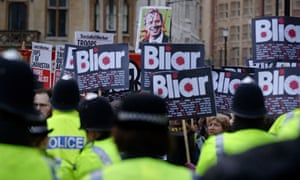 Police and protesters outside the Chilcot inquiry into the Iraq war where Tony Blair gave evidence