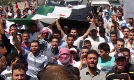 Demonstrators protest against Syria's President Assad in Qara near Damascus