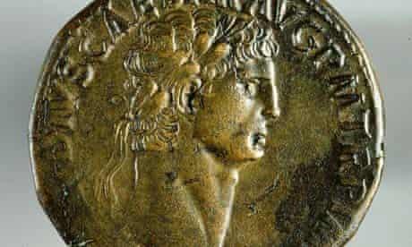 Roman coin with emperor Cladius's head at exhibition in Bristol Museum