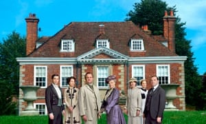 Spot the difference: Moot Gardens in Downton, Wiltshire – with the some of the Downton Abbey cast.