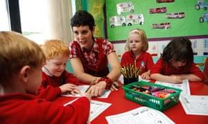 Woman teacher maths in primary school in Wales