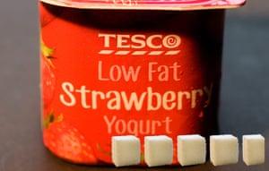 Sugar Update: Tesco low-fat strawberry yoghurt = 20.2g sugar