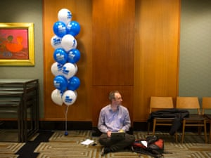 A journalist works outside the Four Seasons Hotel ballroom where Tony Abbott's election function is set to begin at 7:30pm. 7 September 2013.