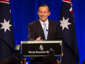 Incoming Prime Minister Tony Abbott, onstage at the Four Seasons Hotel ballroom in Sydney, claims victory in the 2013 Federal Election.  7 September 2013.