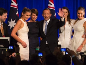 Chaos as an intruder is on stage the stage as incoming Prime Minister Tony Abbott, onstage at the Four Seasons Hotel ballroom in Sydney with his family, claims victory in the 2013 Federal Election.  7 September 2013,