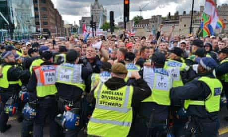 EDL supporters marched through east London