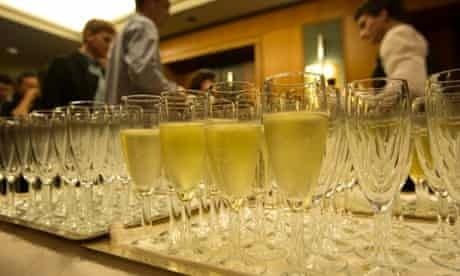 Champagne ready to be drunk, ahead of Tony Abbott's election function, at the Four Seasons Hotel ballroom in Sydney