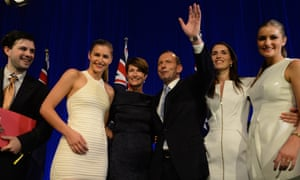 Prime minister-elect Tony Abbott and his wife Margie and daughters Louise, Frances and Bridgette, on stage to celebrate his election victory.