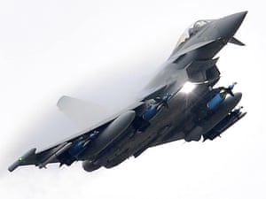 RAF Typhoons  were scrambled from their base in Cyprus to urgently investigate Syrian planes that had crossed into international airspace.
