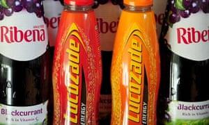 Ribena and Lucozade bottles
