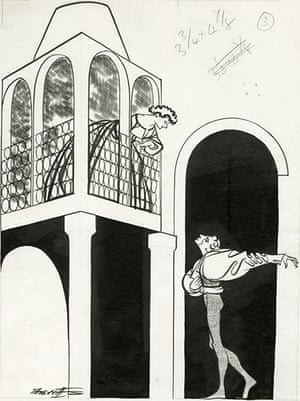 Sherriffs cartoons: Laurence Olivier and Peggy Ashcroft as Romeo and Juliet