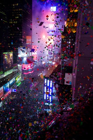 New York, US: Confetti flies over Times Square