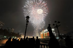 Skopje, Macedonia: Fireworks explode over the Vardar River