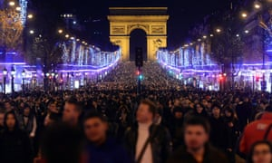 Paris, France: People celebrate on the Champs-Elysees