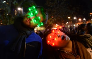 Los Angeles, California: Partygoers show off their 2014 LED glasses.