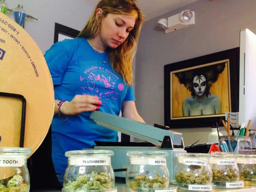 Laura Mulloy at work in a Denver marijuana store