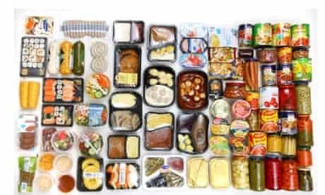 Selection of packaged foods