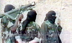 Followers of Osama bin Laden in training exercise in Afghanistan