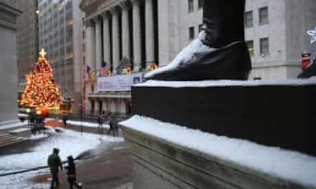 Wall Street in the snow