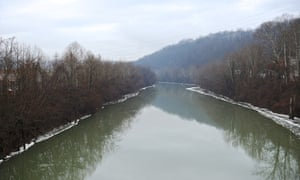 The Elk River in Charleston, West Virginia, along which a federal disaster has been declared over a chemical spill.