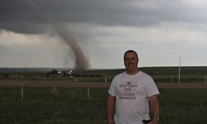 British storm chaser Paul Sherman on the trail of a tornado in the US