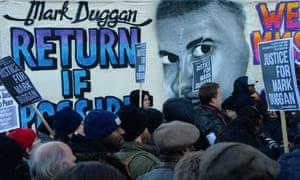Protesters at Mark Duggan's vigil
