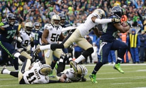 Seattle Seahawks running back Marshawn 'Beast Mode' Lynch scores a touchdown against the New Orleans Saints