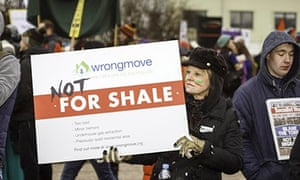 Anti-fracking march placard