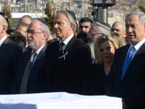 Middle East international envoy Tony Blair and other  foreign delegates attend a state memorial service for Israel's former Prime Minister Ariel Sharon at Israel's parliament, the Knesset.