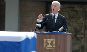 Vice President Joe Biden speaks during the funeral ceremony of late former prime minister Ariel Sharon at the Knesset in Jerusalem.