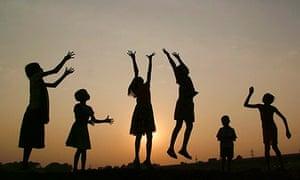 Children in silhou
