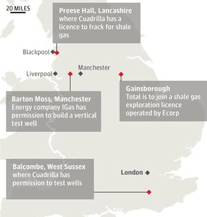 Map: UK current fracking sites